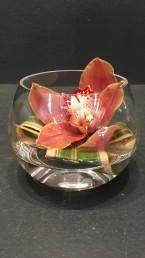 Tischgesteck mit Cymbidium in Glaskugel